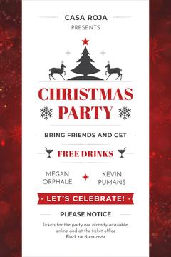 Christmas Party Invitation with Deer and Tree