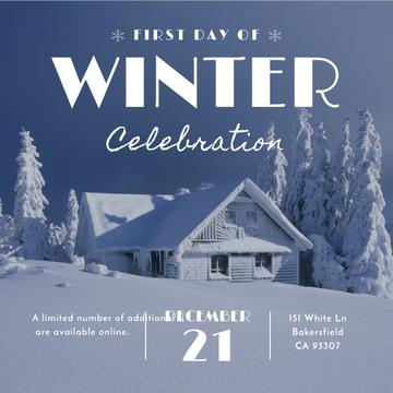 First day of winter celebration with House in Snowy Forest