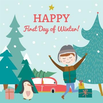 Happy first day of Winter illustration