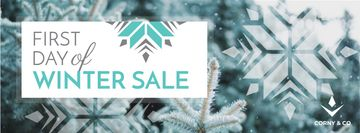 Winter Sale Announcement with Tree Covered in Snow
