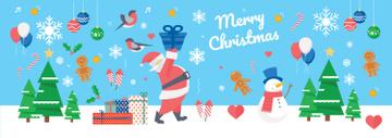Christmas Holiday greeting Santa delivering Gifts