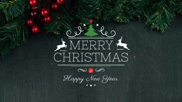 Christmas Greeting with Fir Tree Branches