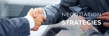 negotiation strategies poster with business people shaking hands