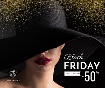 Black Friday Sale with Woman in hat