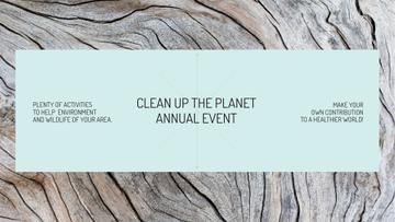 Ecological event announcement on wooden background
