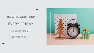 Gifts Workshop invitation with alarm clock