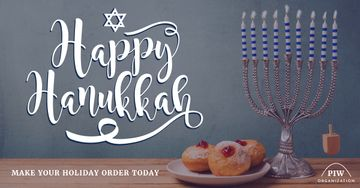 Happy Hanukkah greeting with Menora