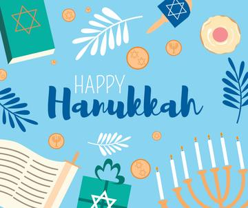 Happy Hanukkah Greeting with Menorah and Torah