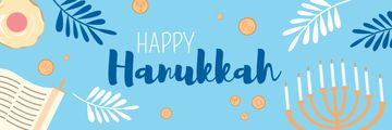 Happy Hanukkah Greeting with Menorah in Blue