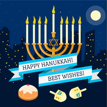 Happy Hanukkah Greeting with Menorah