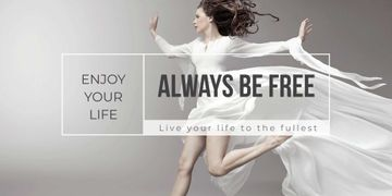 Beautiful young woman in white dress and Inspirational Quote