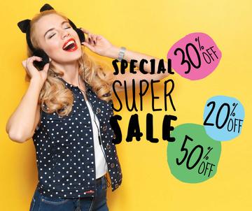 Digital Devices Sale Woman in Headphones