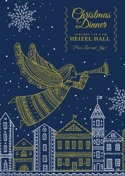 Christmas Dinner Invitation Angel Flying over City