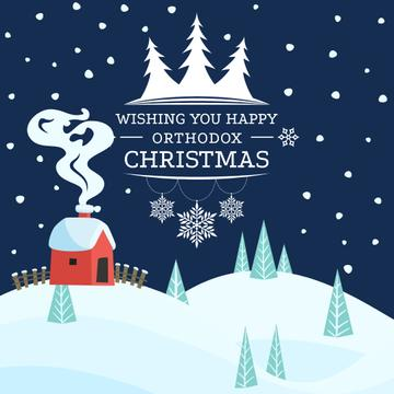 Happy Christmas Greeting with Snowy Town