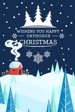 Christmas Greeting with Snowy Landscape