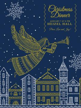 Christmas Dinner Invitation Angel Flying over City