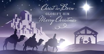 Happy Christmas Greeting on purple