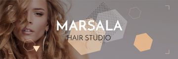 Hair Studio Ad with Woman with Blonde Hair