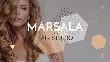 Hair Studio Ad Woman with Blonde Hair