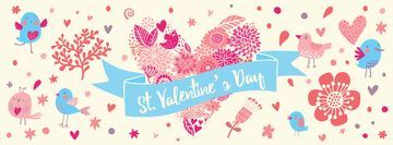 Valentine's Day Greeting with Hearts and Birds