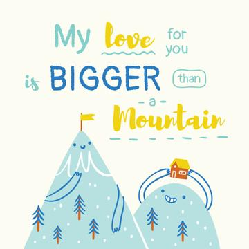 Love Quote Romantic Mountains in Blue