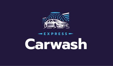 Express Car Wash with Icon in Blue