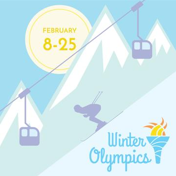 Winter Olympics with Skier in Mountains