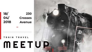 Train Travel event announcement with Old Steam Train