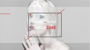 Fashion Magazine Ad with Girl in White Makeup