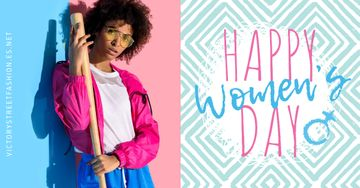 Women's day greeting with Stylish Woman