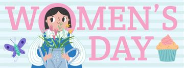 Women's day greeting with Girl illustration
