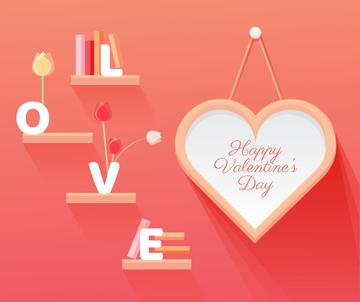 Valentine's Day Greeting Heart and Books