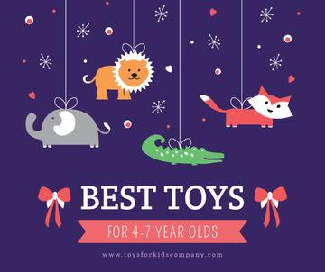 Kids store ad with animals Toys