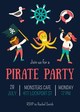Pirate Party Announcement with funny characters