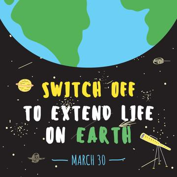 Planet view on Earth hour