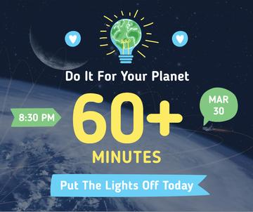 Earth hour announcement with planet view
