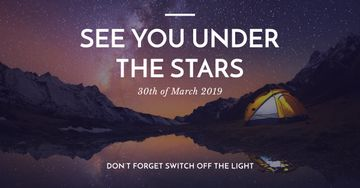 Earth hour with Tent by Night Lake