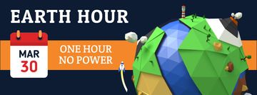 Earth hour Annoucement with Planet illustration