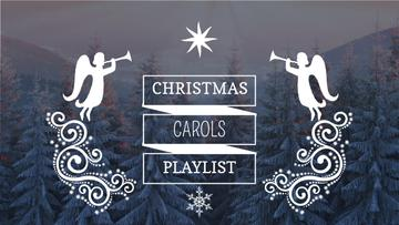 Christmas Carols Playlist Cover Winter Forest and Angels