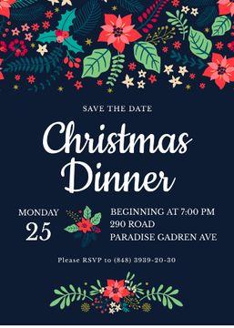 Christmas Dinner Invitation Red Poinsettia