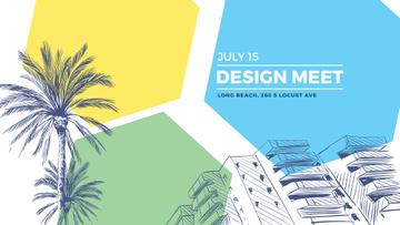 Urban Design Event Invitation with palms trees on street