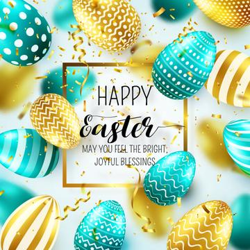 Happy Easter Day with Bright Easter Eggs