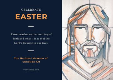 Easter Day Invitation with Christ Portrait