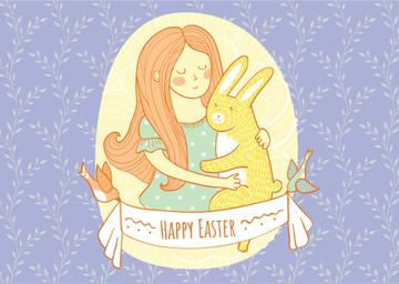 Happy Easter Greeting with Girl Hugging Bunny