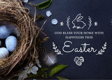 Easter Greeting Neat with Eggs in Blue