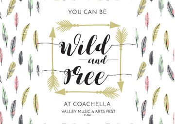 Coachella Festival Invitation with Feathers and Arrows