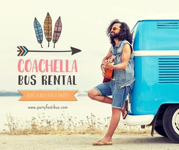 Coachella bus rental with Man by van