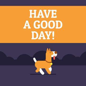 Good Day Wishing with Happy Dog Peeing