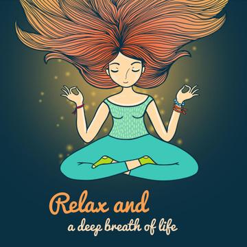 Woman Waving Hair Relaxing and Mediating