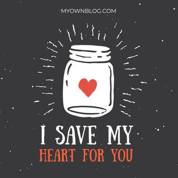 Heart glowing in Jar with Love quote